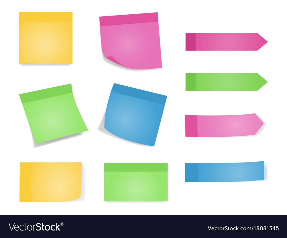 Sticky notes set of color sheets of note papers vector image