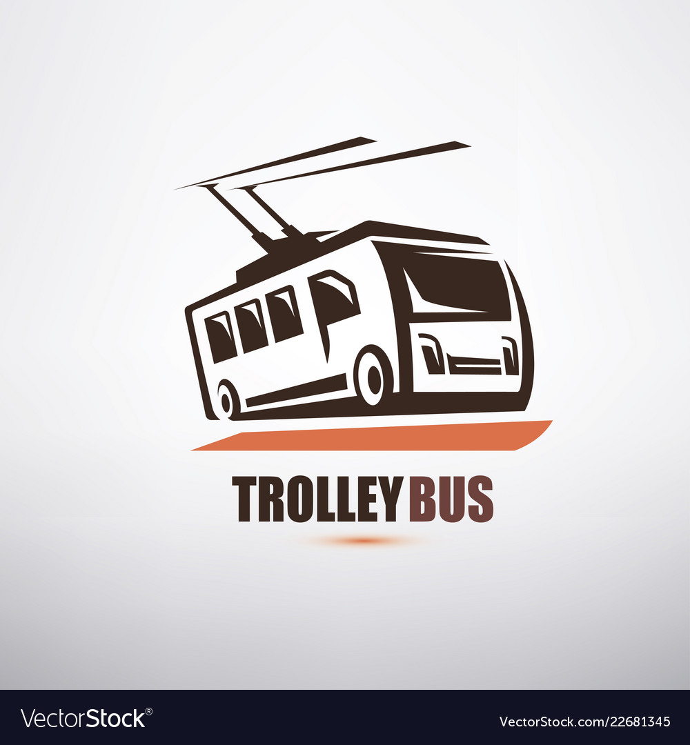Stylized cartoon trolleybus symbol city transport