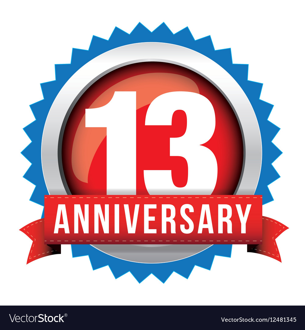 Thirteen Years Anniversary Badge With Red Ribbon Vector Image