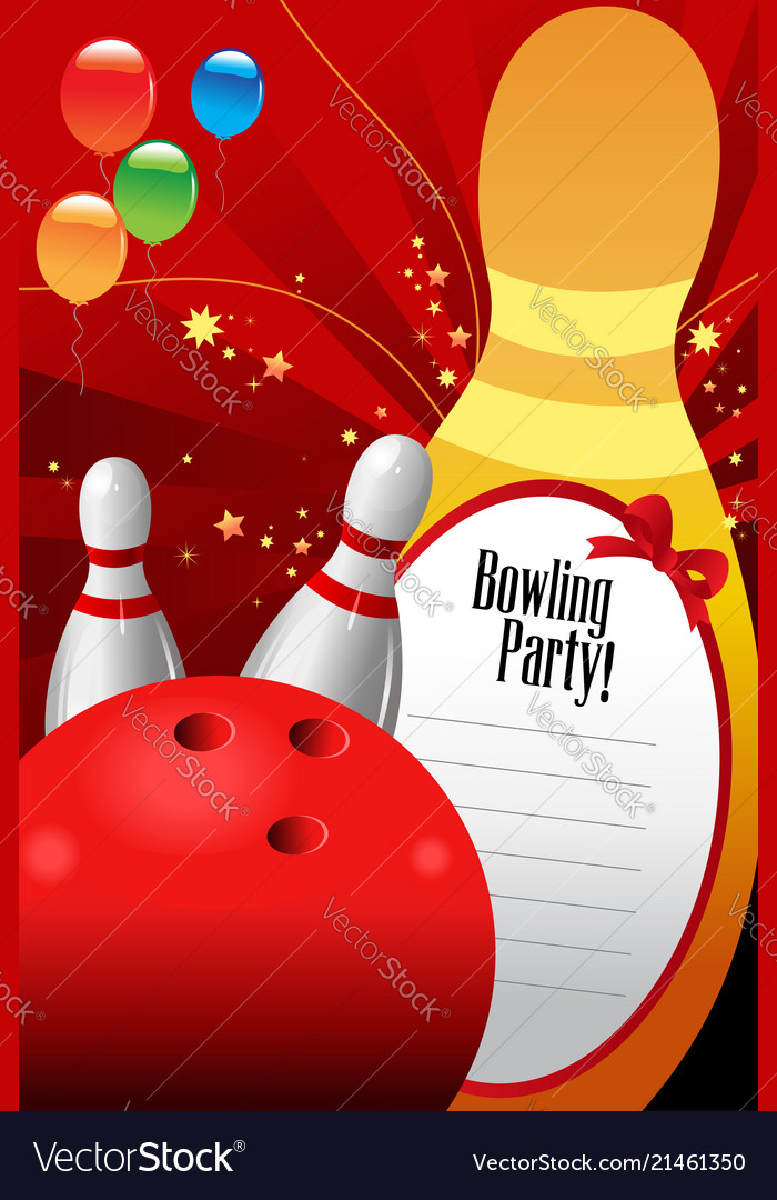 Bowling Party Invitation Template Royalty Free Vector Image