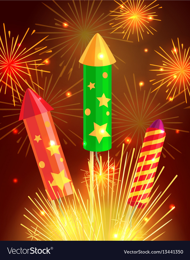 Colourful exploding rockets on bright background