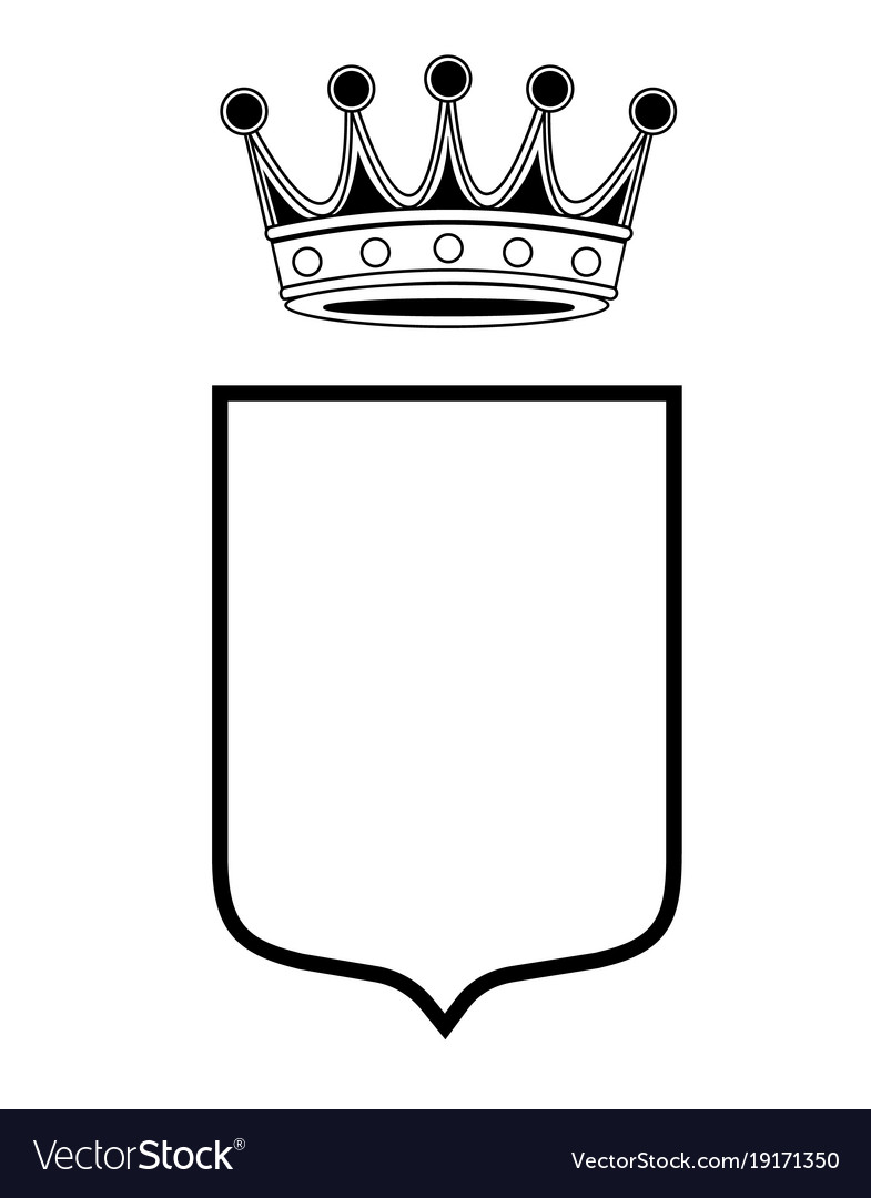 Family shield template with crown