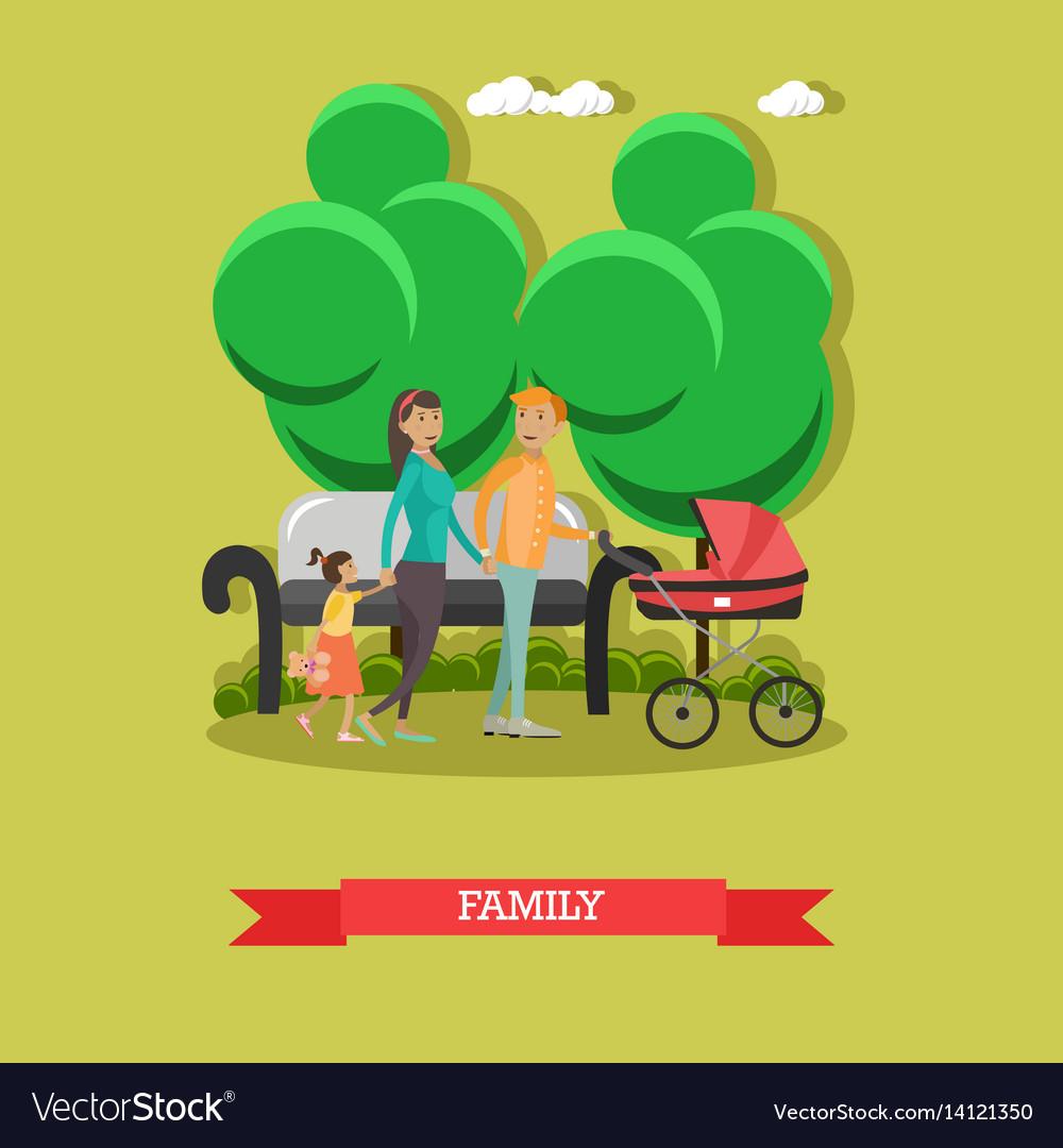 Flat of happy family walking vector image