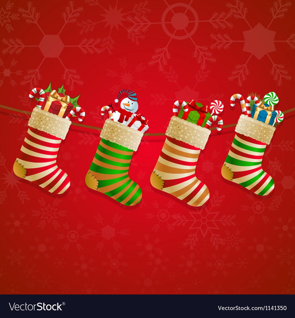 Hanging Christmas Socks With Present