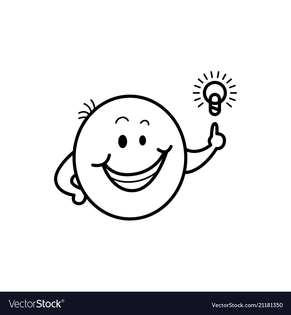 Male Smiley Face Emoticon Idea Light Bulb Vector Image