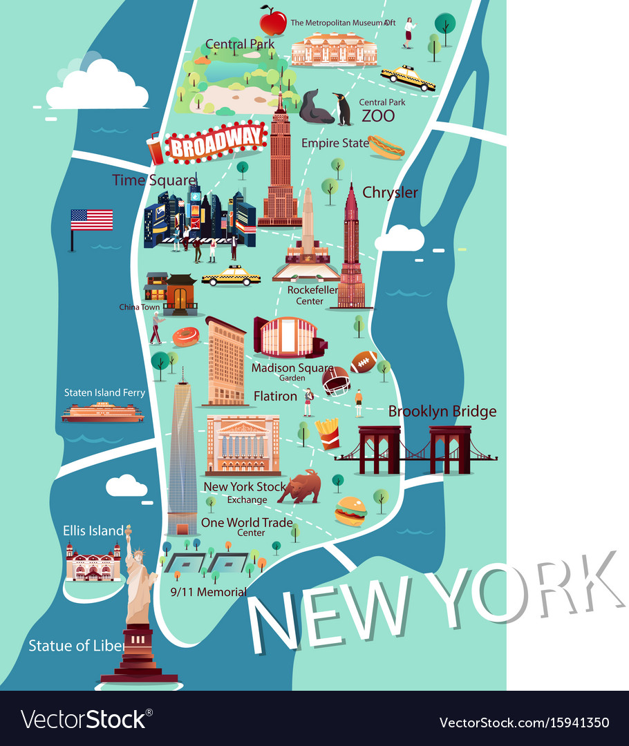 Central Park New York Map Pdf.New York Manhattan Map Royalty Free Vector Image