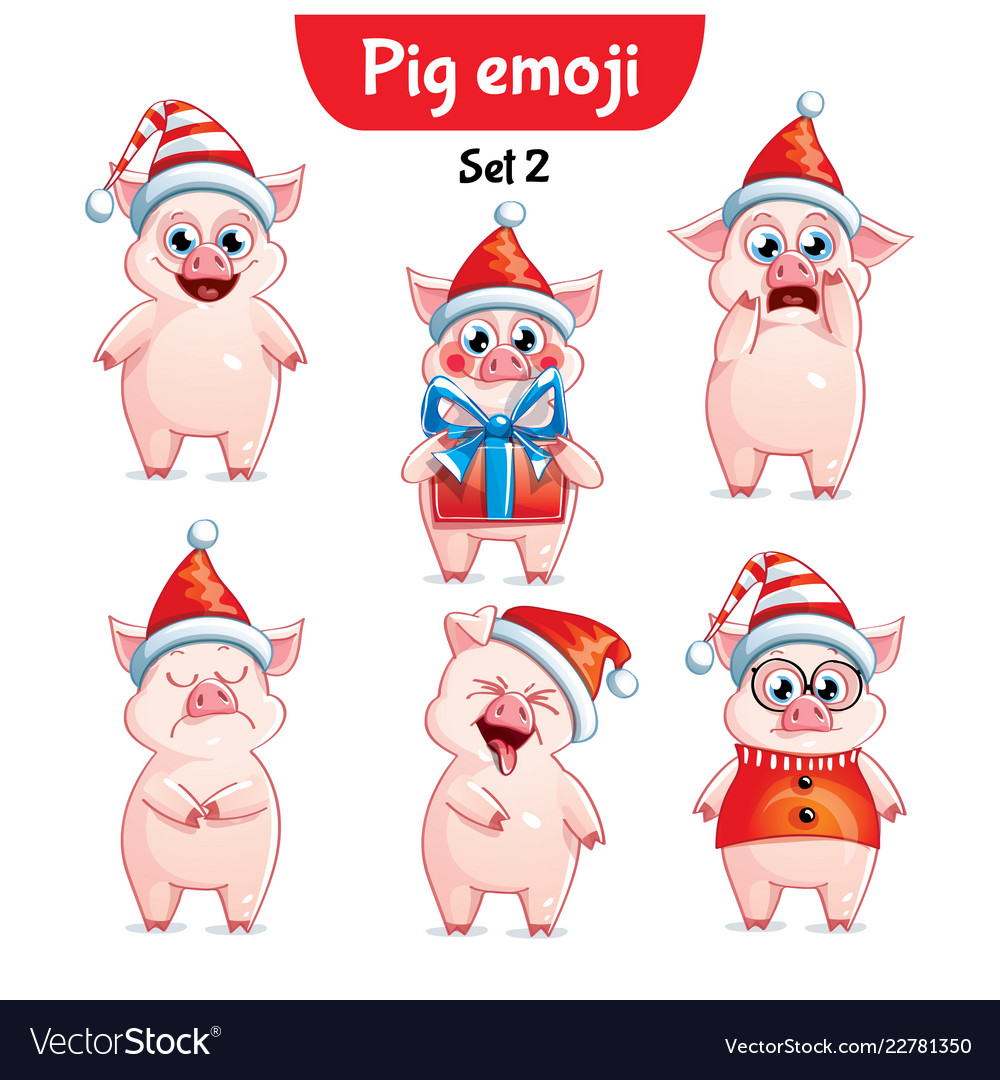 set of christmas pig characters set 2 royalty free vector