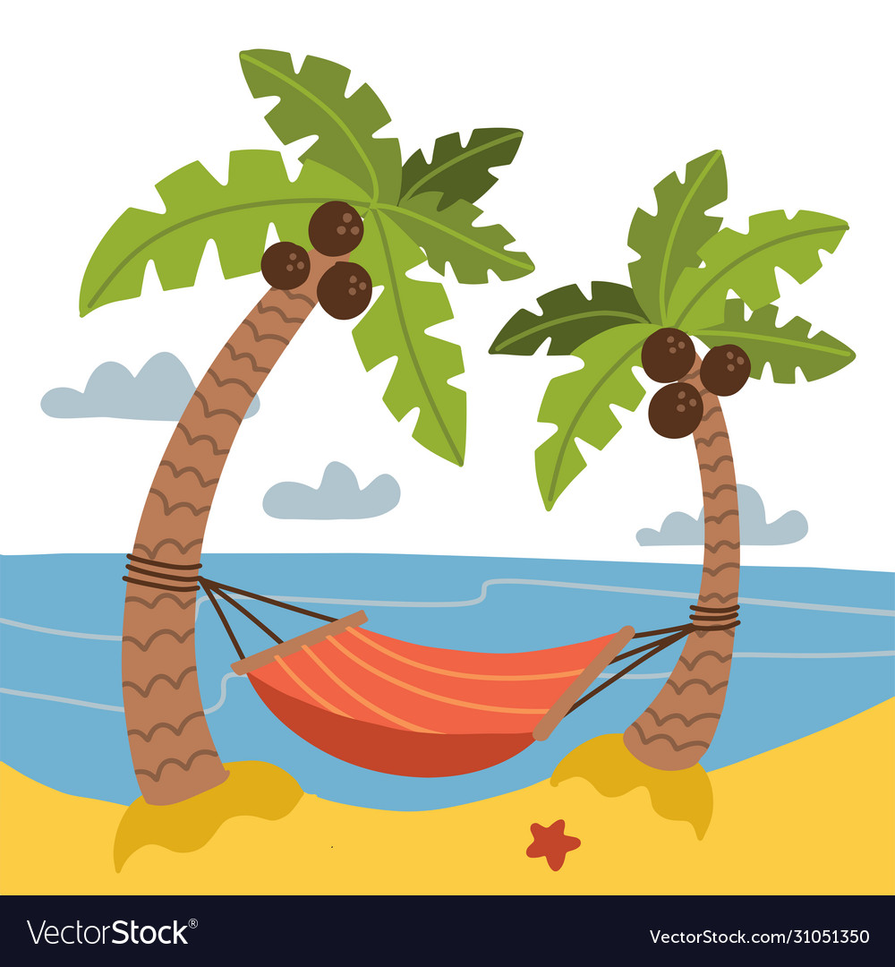 Vacation and travel concept red hammock between