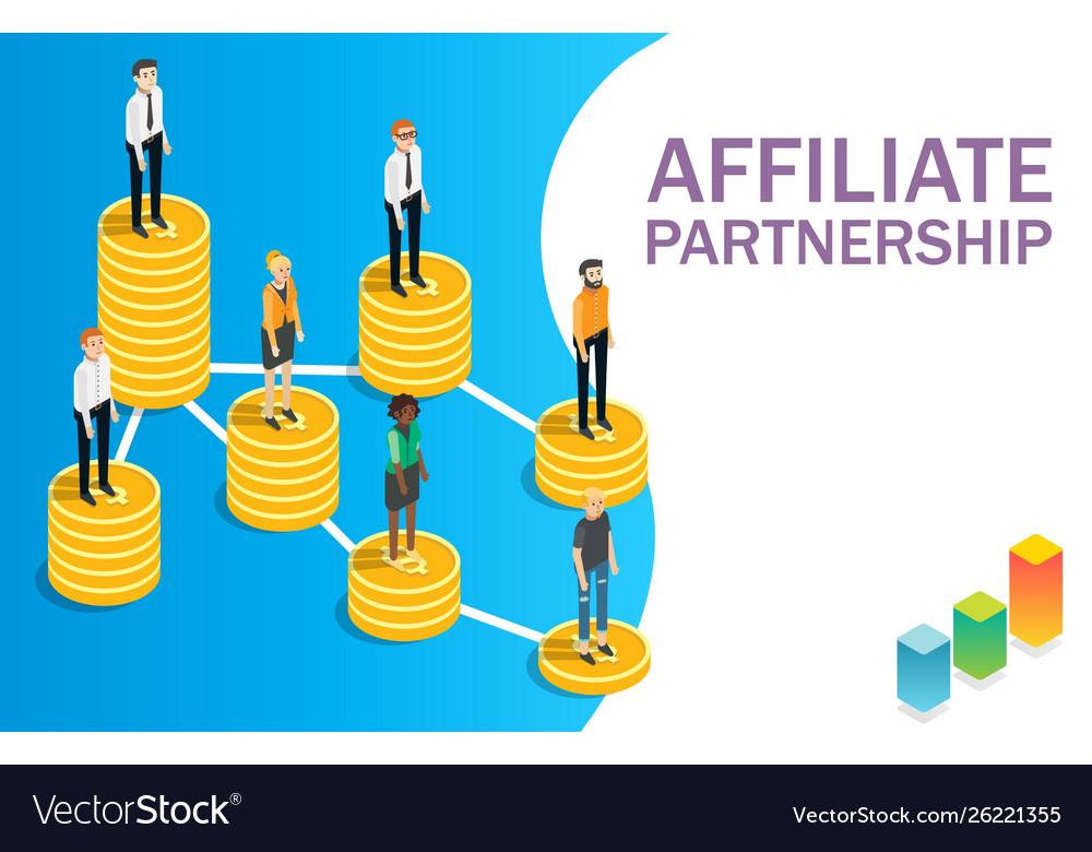 Affiliate partnership concept flat