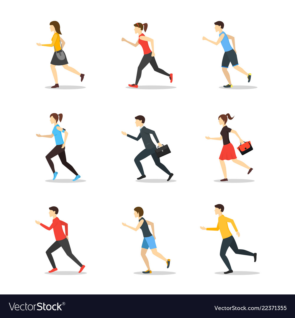Cartoon characters runners man and woman people