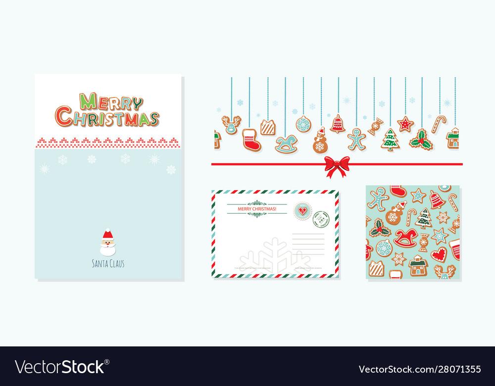 Christmas design elements set santa claus letter