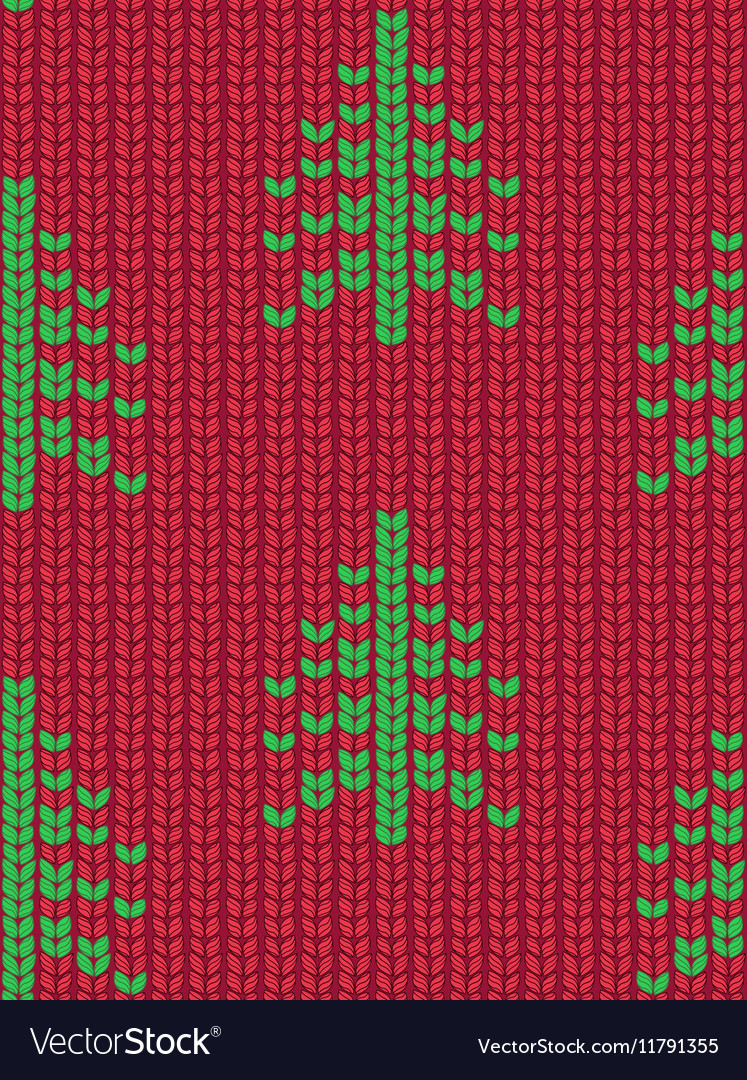 Christmas tree seamless knitted pattern green