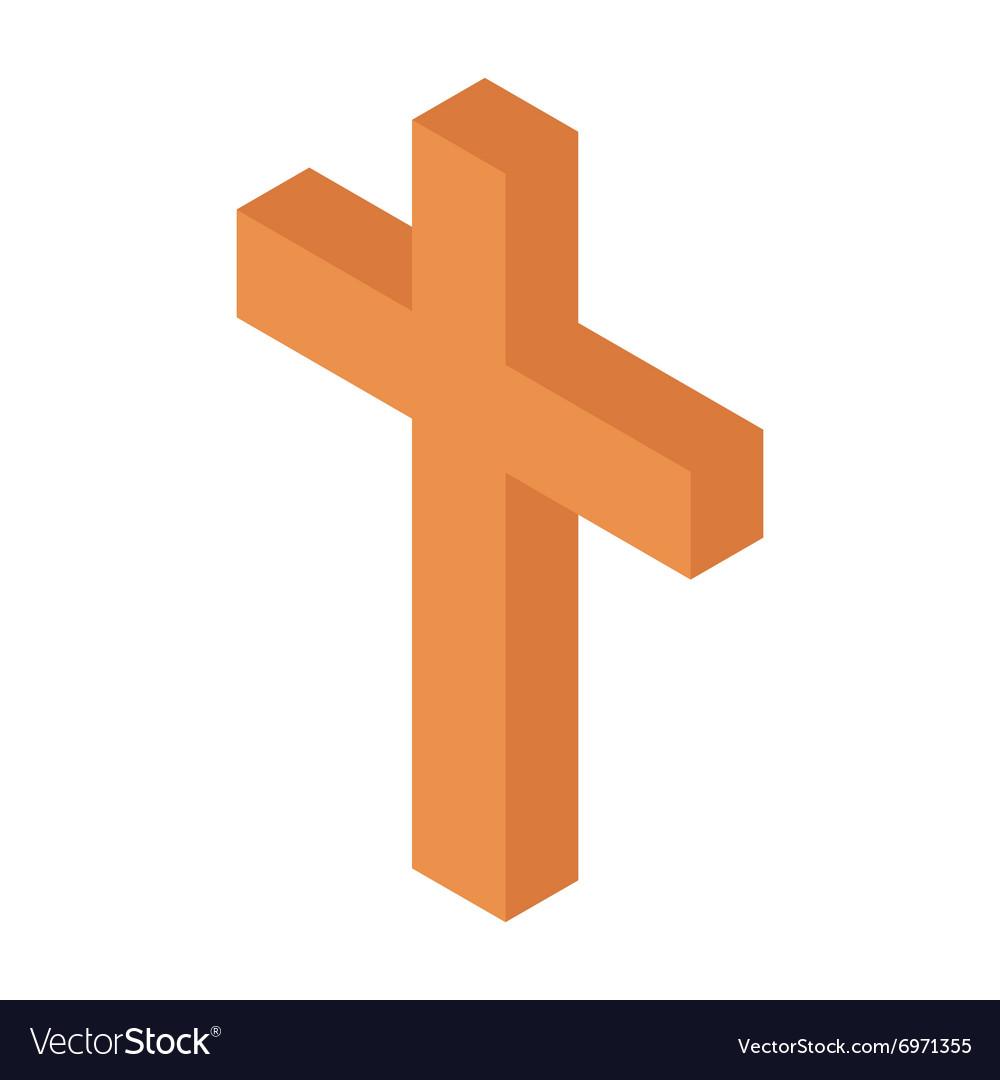 Cristian cross isometric 3d icon