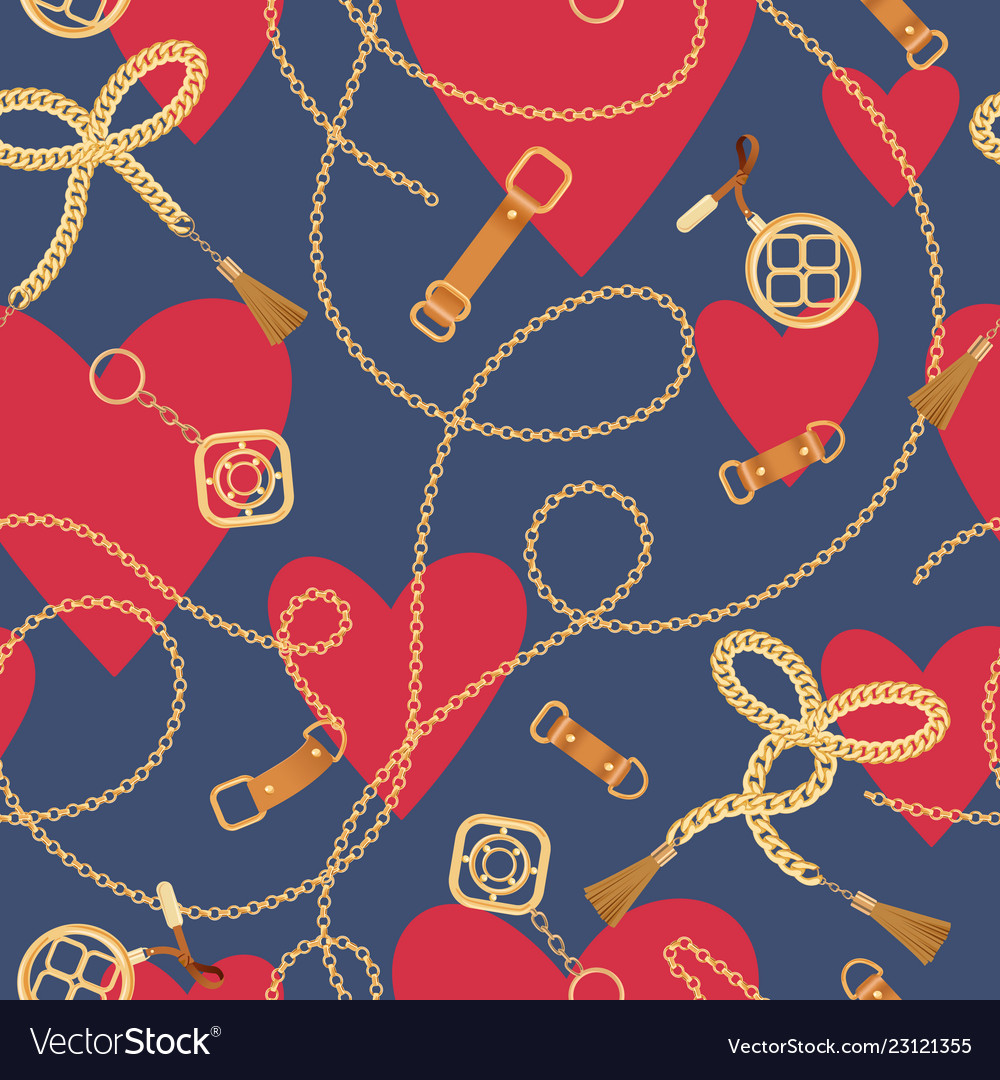 Fashion seamless pattern with chains and hearts