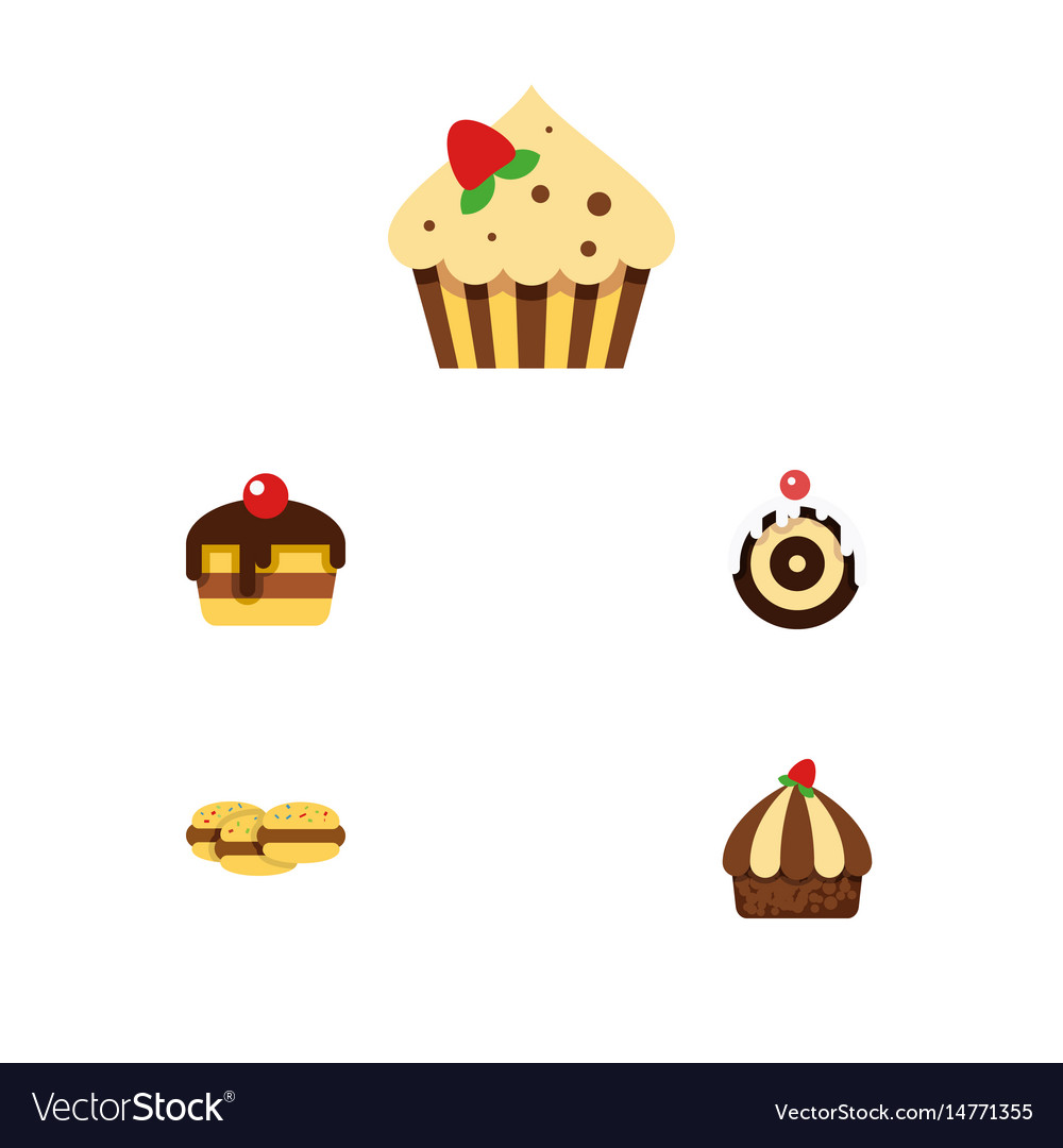 Flat cake set of pastry confectionery cupcake vector image