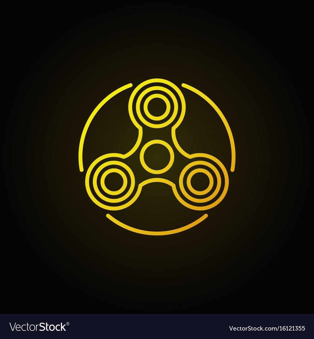 Hand triple spinner yellow icon