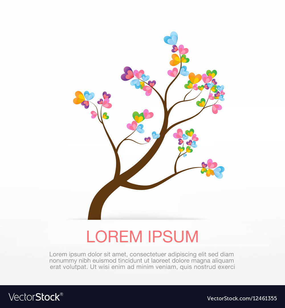Heart Tree element for valentine day and wedding vector image