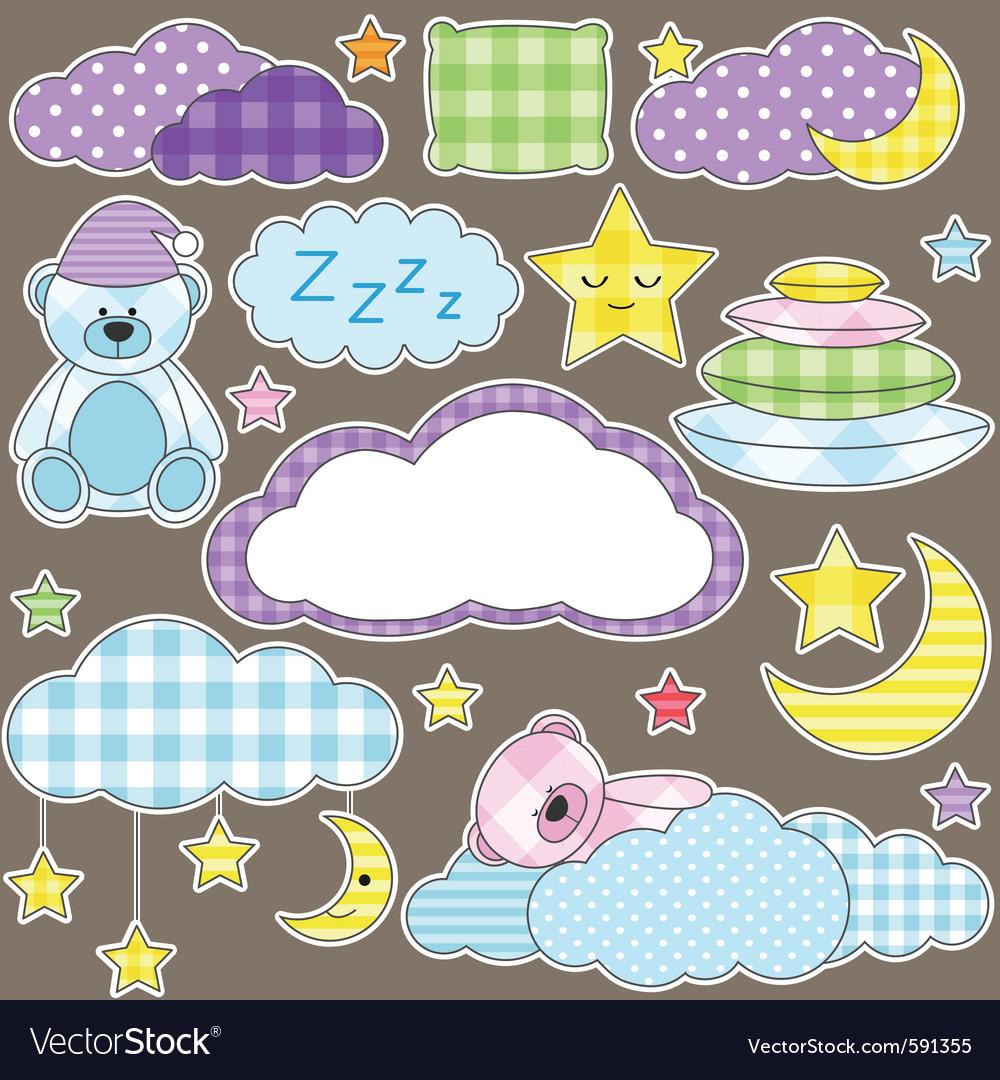 Night stickers vector image