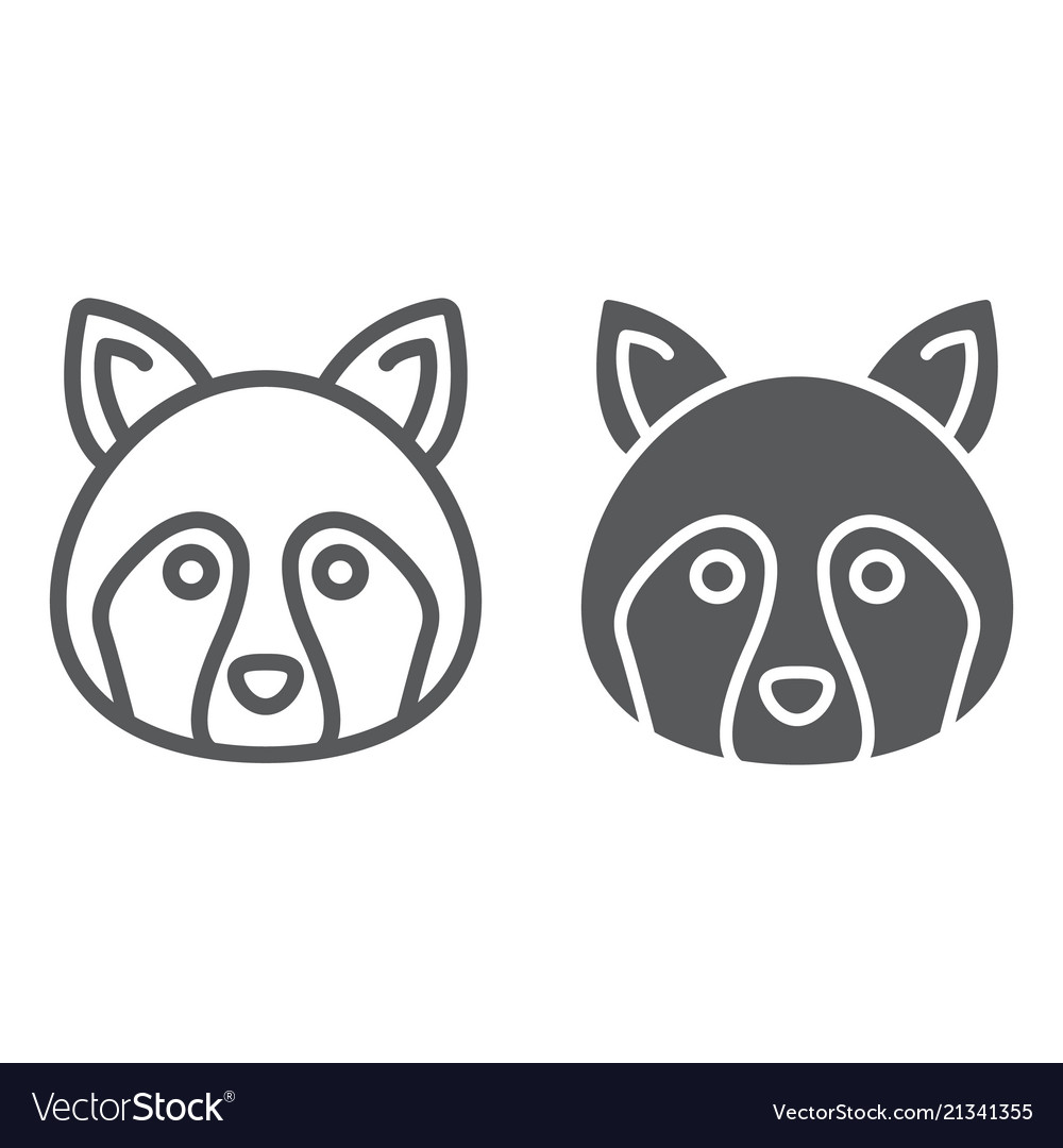 Racoon line and glyph icon animal and zoo