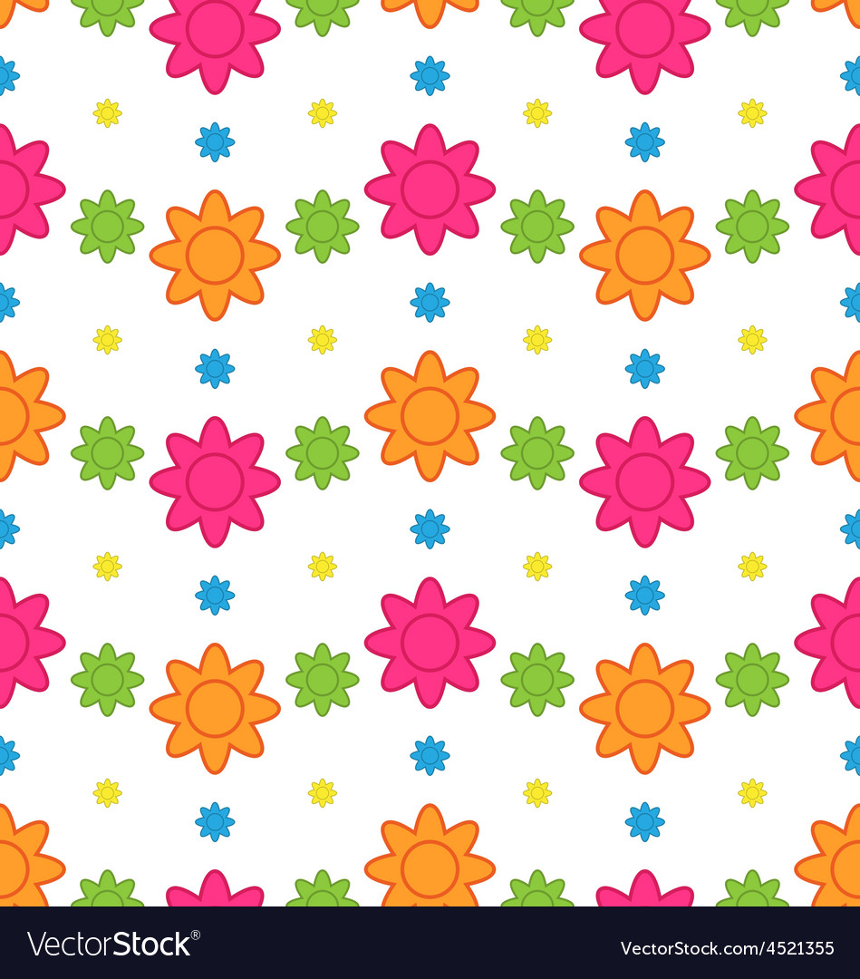 Seamless Floral Pattern with Colorful Flowers