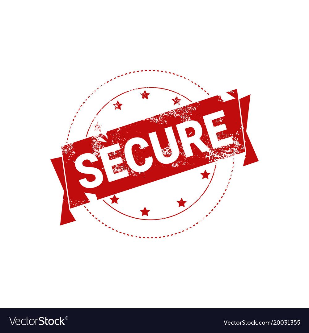 Secure stamp red grunge sign sticker icon isolated