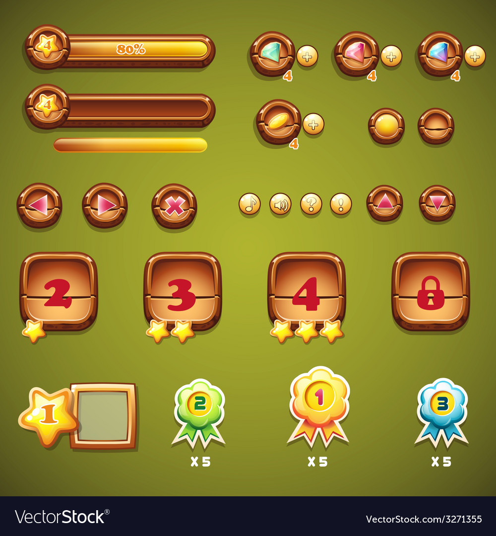Set wooden buttons progress bars and other