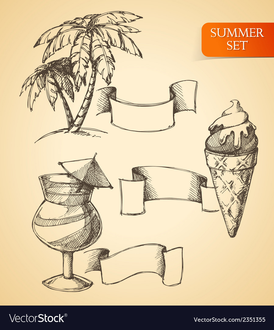 Summer sketch set vector image