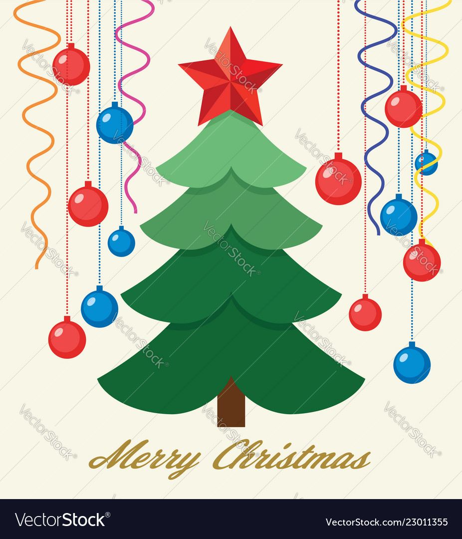Winter holiday greeting cards with christmas tree