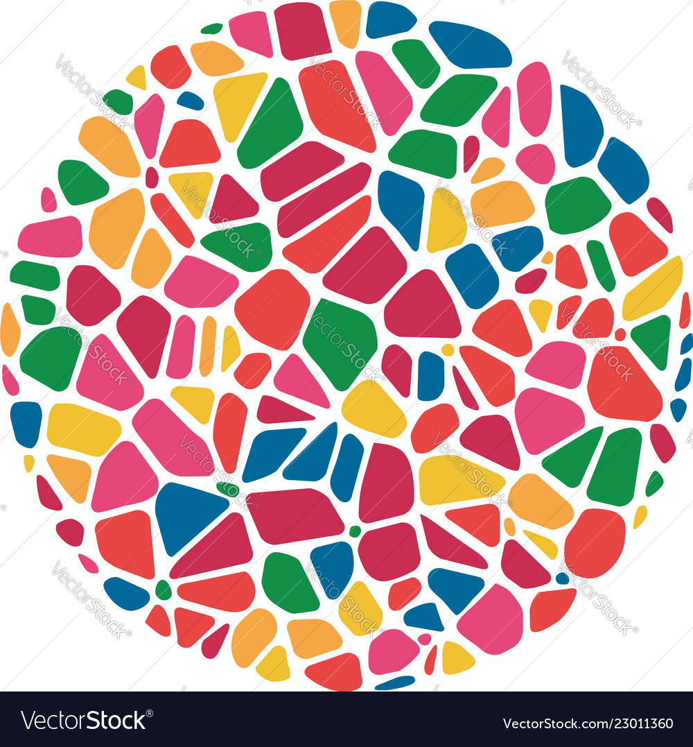 Abstract colorful mosaic round pattern