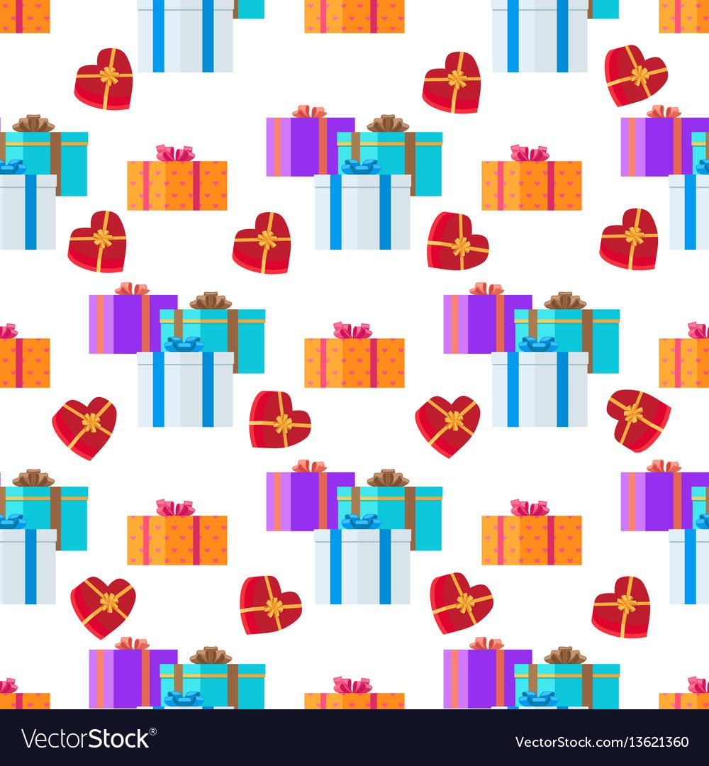 Adorned festive present boxes seamless pattern