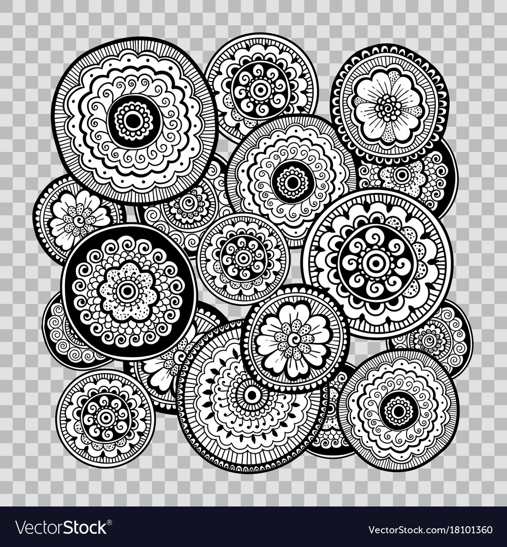 Black and white floral coloring on transparent vector image