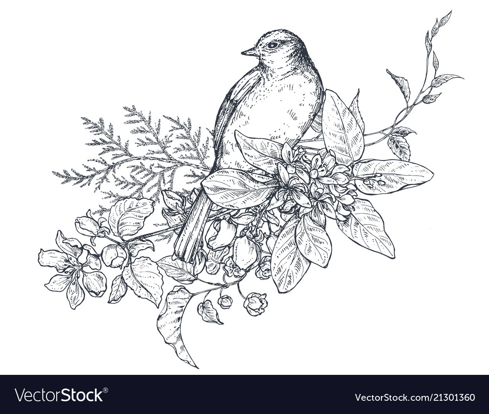 Bouquet with hand drawn blossom branches and bird