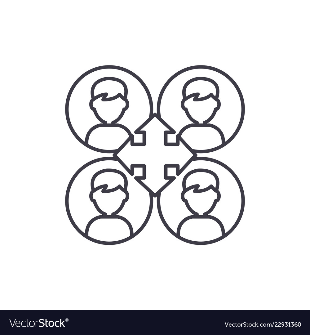Business networking line icon concept business