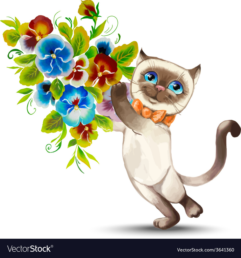 Cat With A Bouquet Of Flowers Royalty Free Vector Image