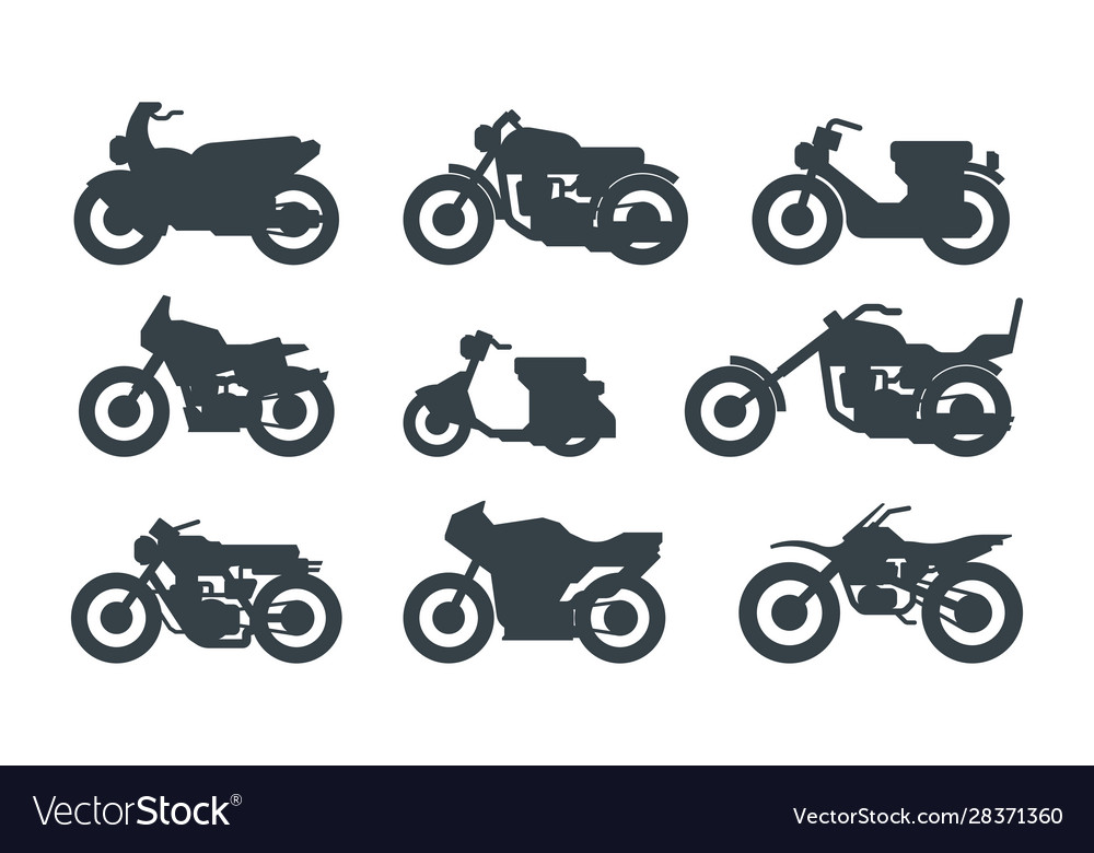 Different motorized vehicles black glyph icons set