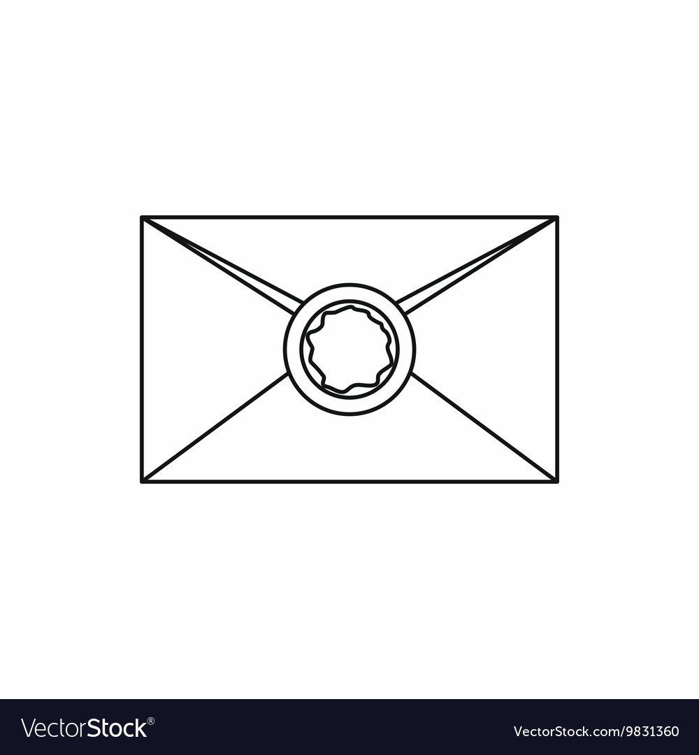Envelope with wax seal icon outline style