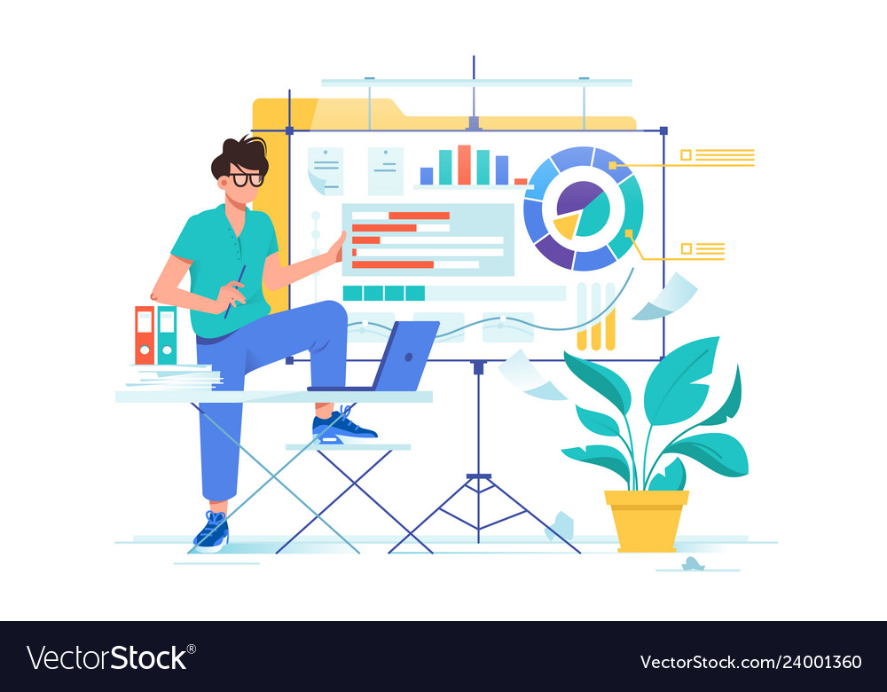 Flat young businessman presentation new data