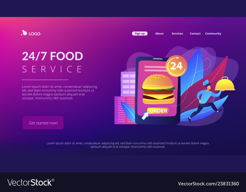 Food delivery service concept landing page