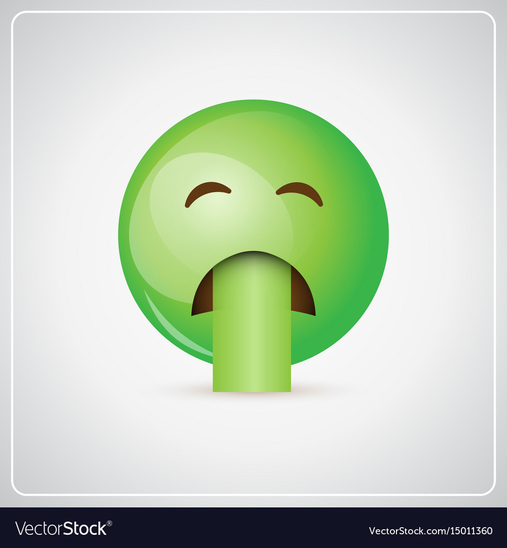 Green cartoon face sick feeling bad people emotion