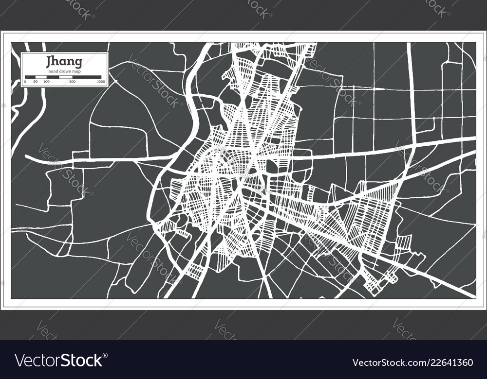 Jhang pakistan city map in retro style outline map