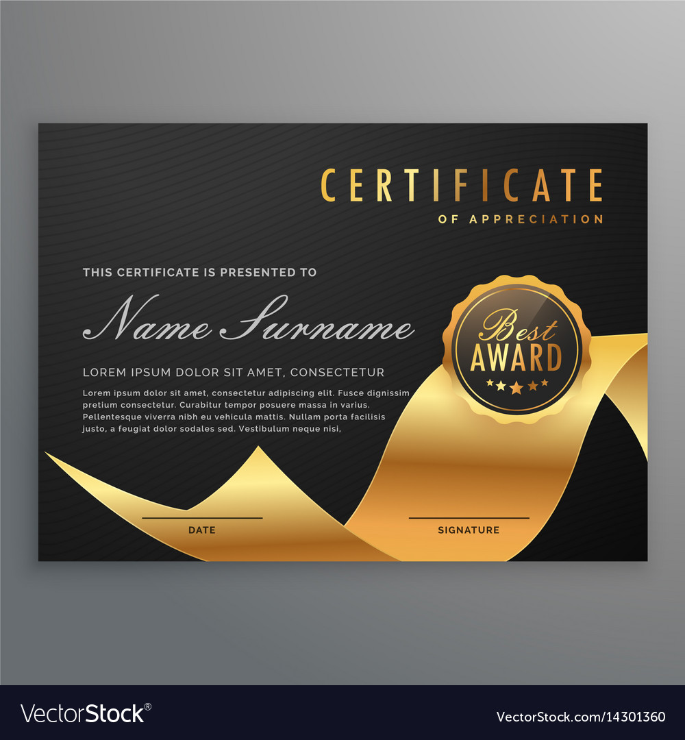 Luxury certificate of diploma with golden ribbon vector image