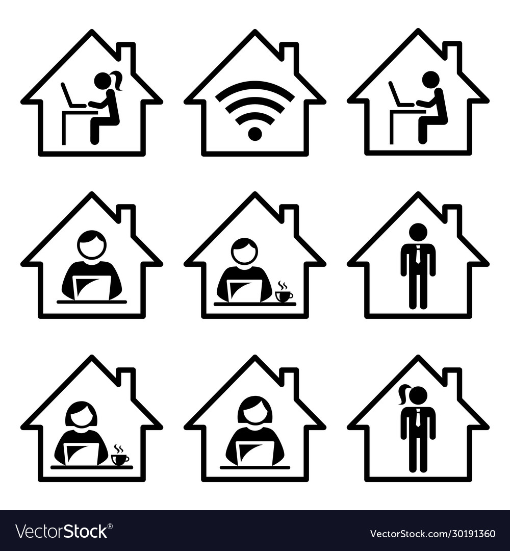 People working from home icon set