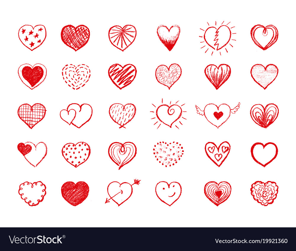Red heart doodles collection