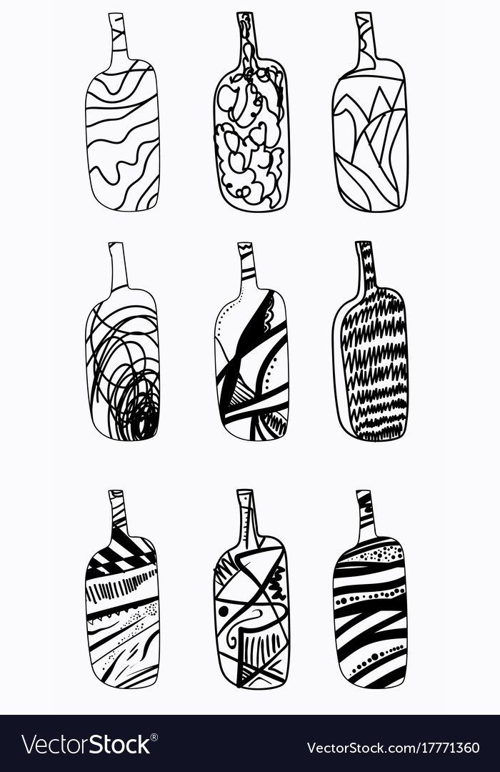 Set of design bottles hand drawn elements