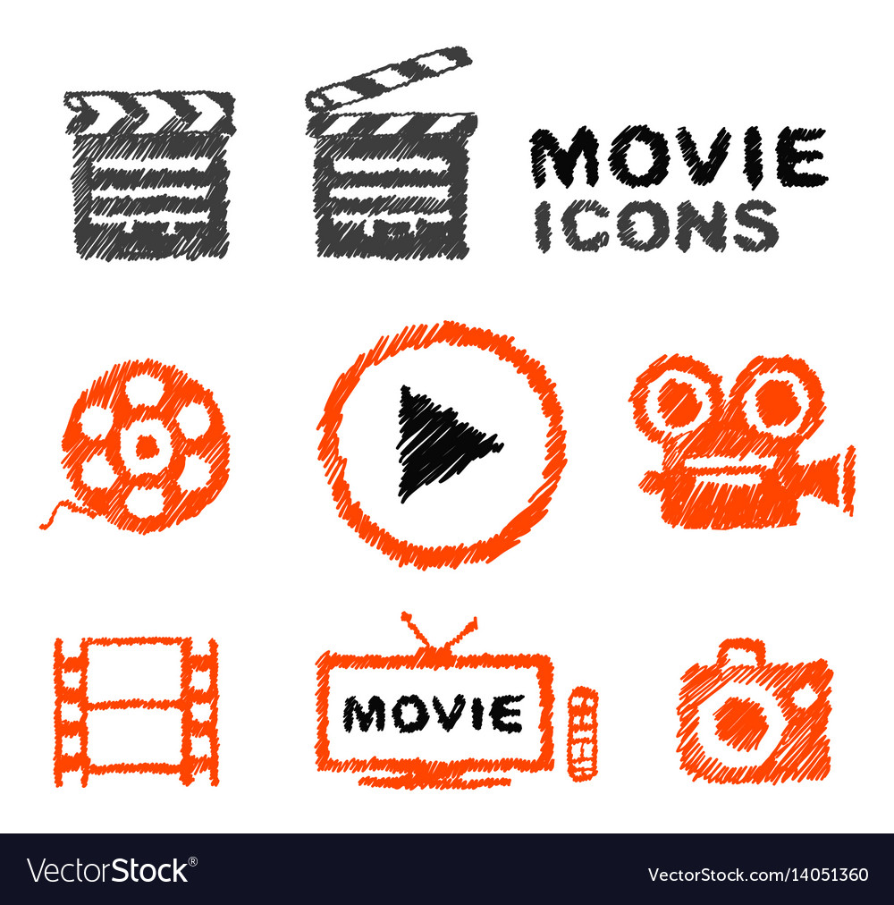 Set of hand-drawn movie icons vector image