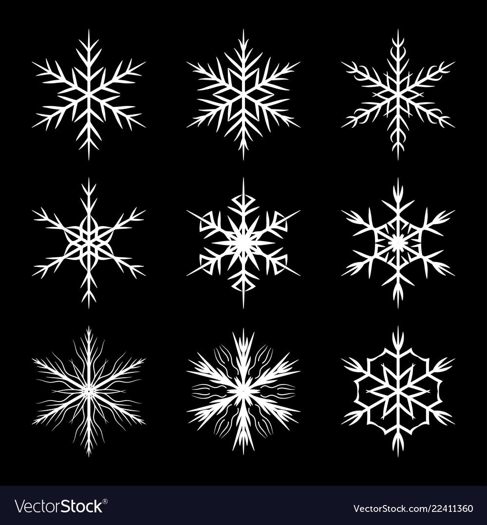 Snowflake set silhouette symbol icon design