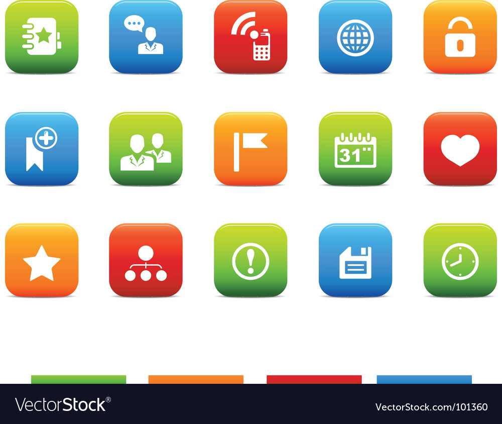 Social icons 4 color set