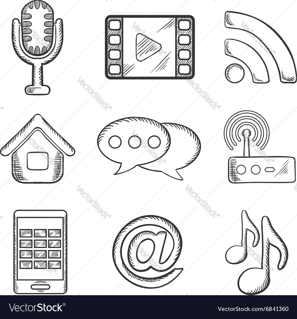 Telecommunication and multimedia sketched icons