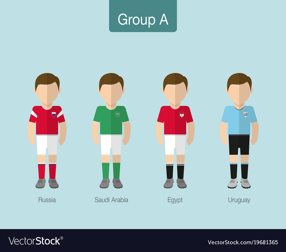 2018 soccer or football team uniform group a