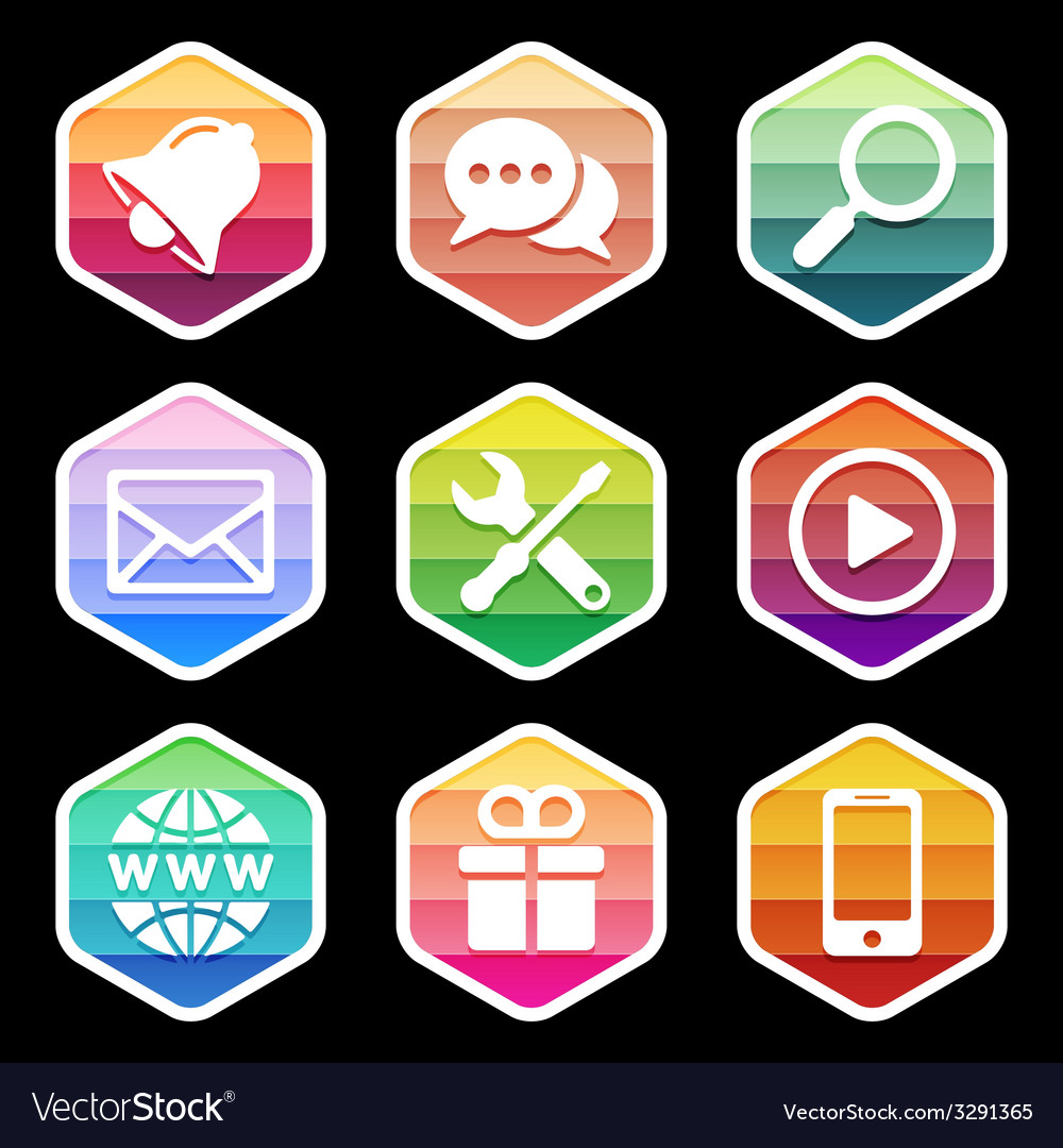 Application Icons trendy Design on black